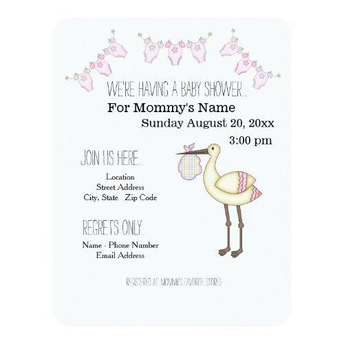 Stork Baby Shower Invitations - Pink 4.25