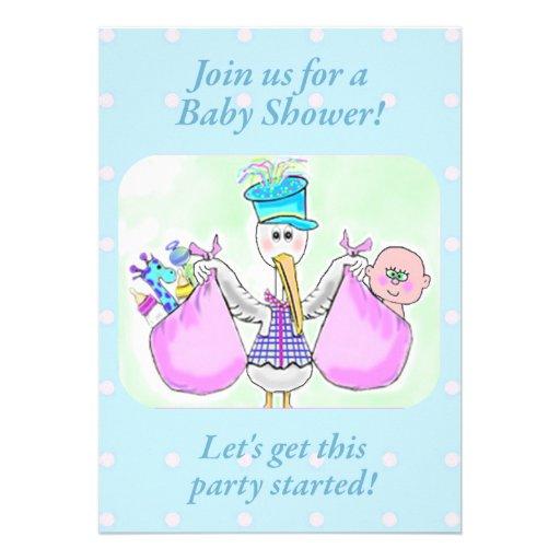 stork baby shower invite template 5 x 7 invitation card zazzle