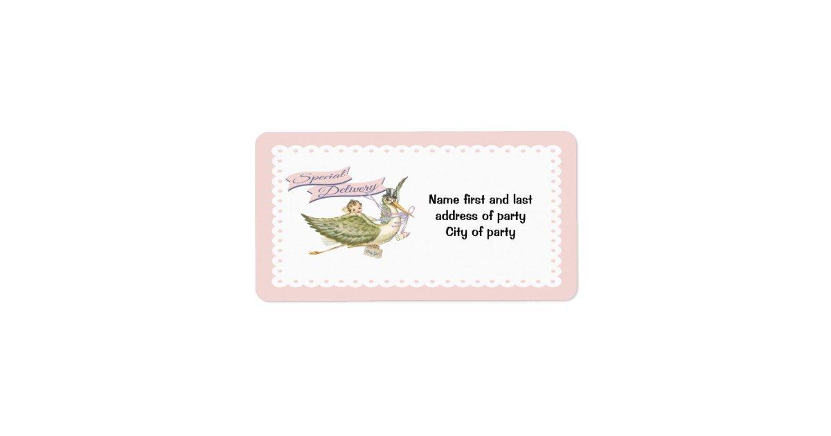 Stork baby shower labels zazzle for Baby shower stork decoration