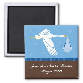 Stork Baby Shower Magnet - Blue/Brown magnet