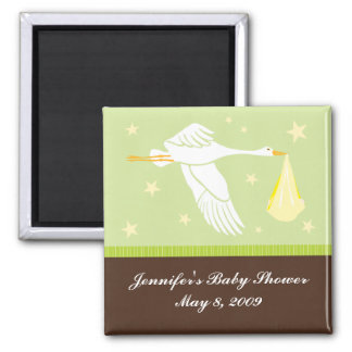 Stork Baby Shower Magnet - Green/Brown
