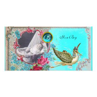 STORK BABY SHOWER MONOGRAM ,aquamarine Card