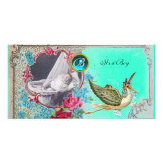 STORK BABY SHOWER MONOGRAM ,aquamarine,white Card