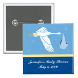 Stork Baby Shower Pin - Blue