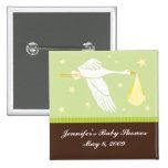 Stork Baby Shower Pin - Green/Brown