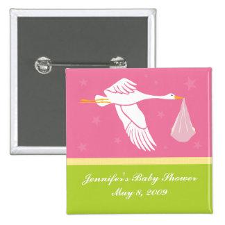 Stork Baby Shower Pin - Pink/Green