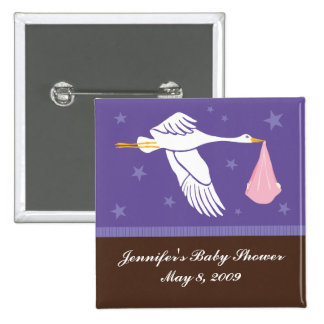 Stork Baby Shower Pin - Purple/Brown