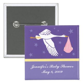 Stork Baby Shower Pin - Purple