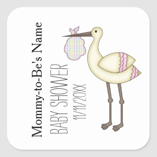 Stork baby shower pink personalized stickers zazzle for Baby shower stork decoration