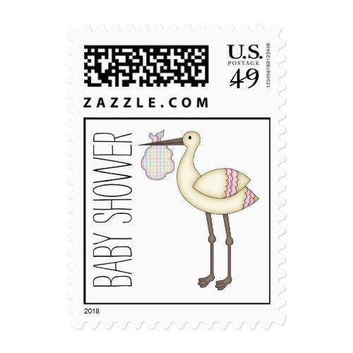 Stork Baby Shower Pink Postage