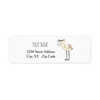Stork Baby Shower Pink Return Address Labels