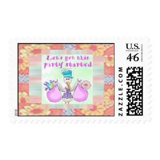 Stork Baby Shower postage stamps