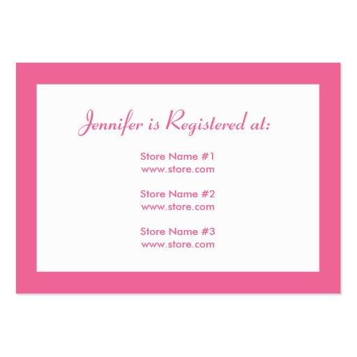 stork baby shower registry card pink large business cards pack of 100 zazzle. Black Bedroom Furniture Sets. Home Design Ideas