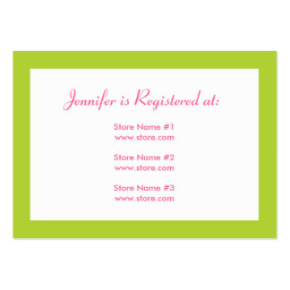 Stork Baby Shower Registry Card - Pink & Green Large Business Cards (Pack Of 100)