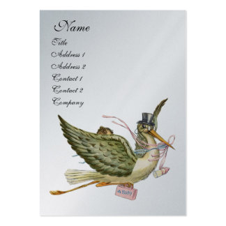 STORK BABY SHOWER, silver platinum metallic Business Card Template