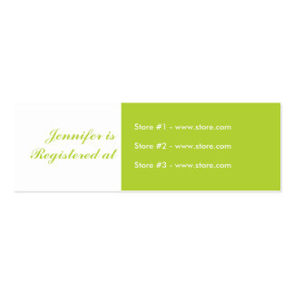 Stork Baby Shower Small Registry Card - Green Mini Business Card