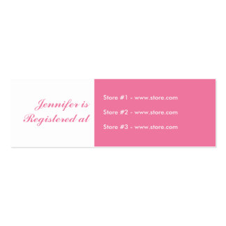 Stork Baby Shower Small Registry Card - Pink Double-Sided Mini Business Cards (Pack Of 20)