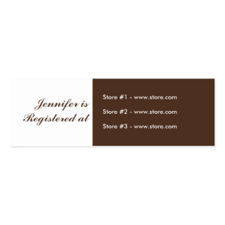 Stork Baby Shower Small Registry - Green/Brown Mini Business Card