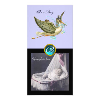 STORK BABY SHOWER SQUARE MONOGRAM ,aquamarine Card