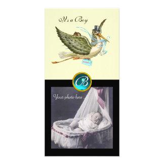 STORK BABY SHOWER SQUARE MONOGRAM aquamarine cream Card