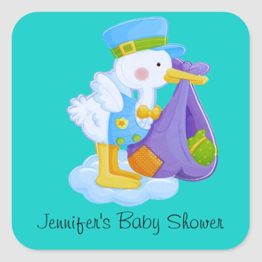 stork baby shower stickers zazzle