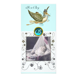 STORK BABY SHOWER SWIRLS MONOGRAM aquamarine Card