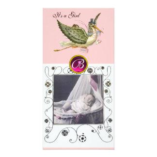 STORK BABY SHOWER SWIRLS MONOGRAM ruby white Card