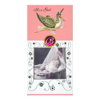 STORK BABY SHOWER SWIRLS MONOGRAM ,ruby white Photo Card Template