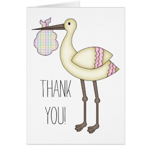 Stork Baby Shower Thank You Card - Pink