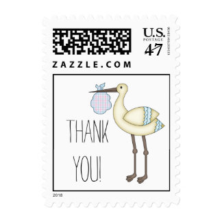 Stork Baby Shower Thank You Postage Blue