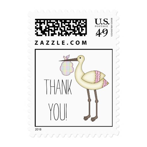 Stork Baby Shower Thank You Postage Pink