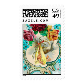 STORK BABY SHOWER WITH COLORFUL ROSES,BLUE FLOWERS POSTAGE