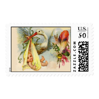 STORK BABY SHOWER WITH FEATHER AND FLOWERS POSTAGE