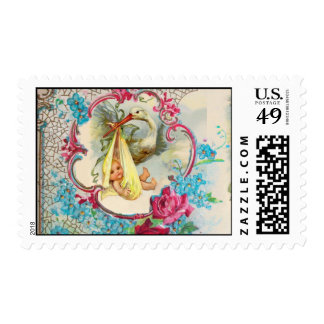 STORK BABY SHOWER WITH PINK ROSES,BLUE FLOWERS POSTAGE