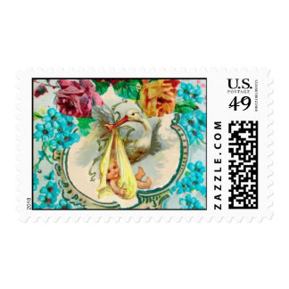 STORK BABY SHOWER WITH PINK ROSES ,BLUE FLOWERS POSTAGE