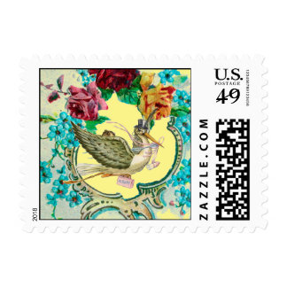 STORK BABY SHOWER WITH ROSES AND BLUE FLOWERS POSTAGE