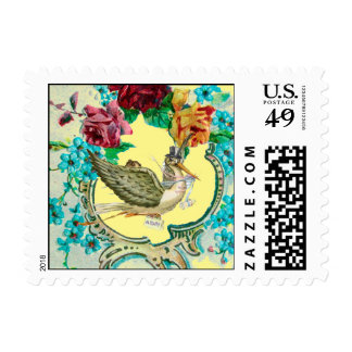 STORK BABY SHOWER WITH ROSES AND BLUE FLOWERS STAMPS