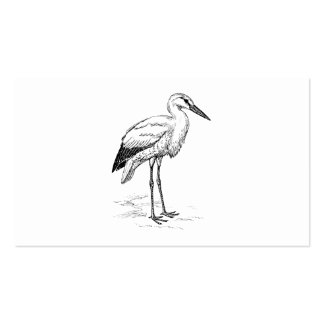 Stork Bird Black and White Cartoon Double-Sided Standard Business Cards (Pack Of 100)