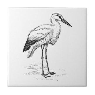 Stork Bird Black and White Cartoon Tiles