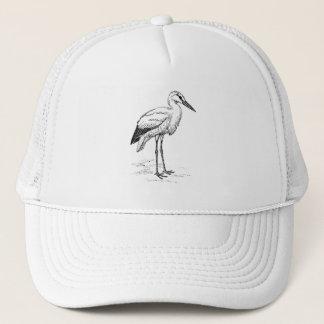 Stork Bird Black and White Cartoon Trucker Hat