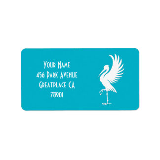 Stork Bird Silhouette Address Lable Label