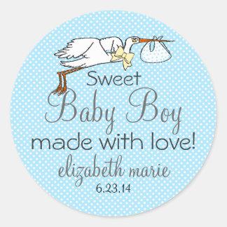 Stork Blue Baby Shower Favor Classic Round Sticker