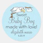 Stork-Blue Baby Shower Favor Sticker