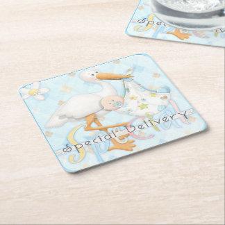 Stork Blue Boy Baby Shower Design Paper Coasters