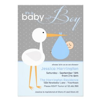 Stork Blue Bundle Baby Shower Invitations