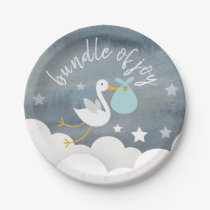 Stork Blue Bundle Stars Watercolor Baby Shower Paper Plate