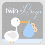Stork Blue Twin Bundle Baby Shower Sticker