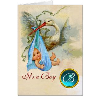STORK BOY BABY SHOWER BLUE GEM MONOGRAM CARD