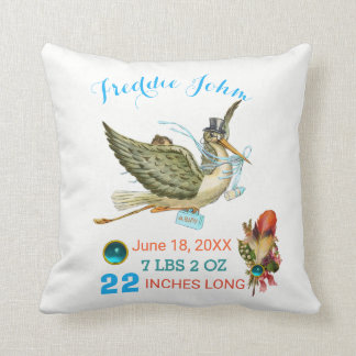 STORK BOY BABY SHOWER Blue White Baby Stats Throw Pillow