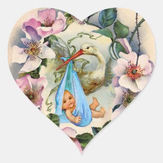 STORK BOY BABY SHOWER CROWN WITH PINK WILD ROSES HEART STICKER